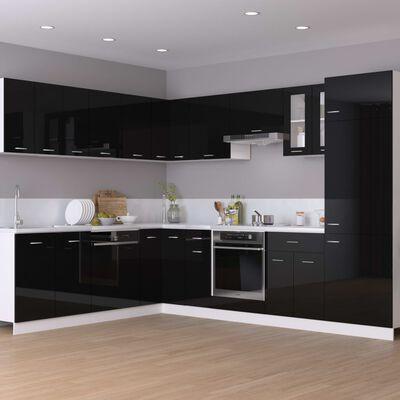 vidaXL Hanging Cabinet High Gloss Black 80x31x60 cm Chipboard