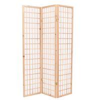 vidaXL Folding 3-Panel Room Divider Japanese Style 120x170 cm Natural