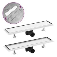 vidaXL Shower Drain with 2-in-1 Cover 53x14 cm Stainless Steel