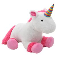 vidaXL Unicorn Cuddly Toy Plush Pink and White