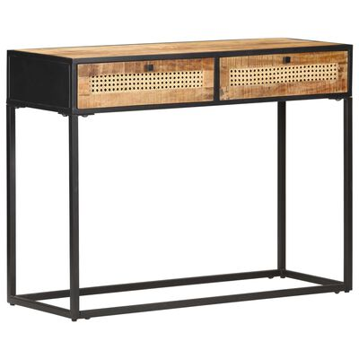vidaXL Console Table 100x35x75 cm Rough Mango Wood and Natural Cane