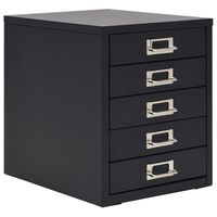 vidaXL Filing Cabinet with 5 Drawers Metal 28x35x35 cm Black