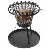 Perel Fire Basket with Ash Pan Round Black BB650