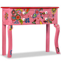 vidaXL Console Table Solid Mango Wood Pink Hand Painted