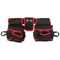 Toolland Electrician's Double Tool Belt Pouches Black and Red FI68