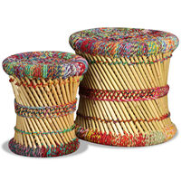 vidaXL Stools with Chindi Details 2 pcs Multicolour Bamboo