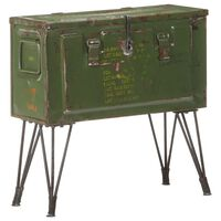 vidaXL Storage Trunk Military Style 68x24x66 cm Iron
