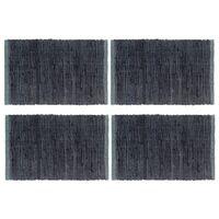 vidaXL Placemats 4 pcs Chindi Plain Anthracite 30x45 cm Cotton