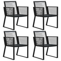 vidaXL Garden Chairs 4 pcs Rope Rattan Black