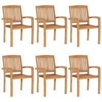 vidaXL Stacking Garden Chairs 6 pcs Solid Teak Wood