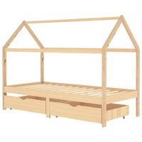 vidaXL Kids Bed Frame with Drawers Solid Pine Wood 90x200 cm