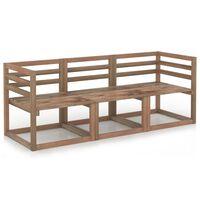 vidaXL 3 Piece Garden Pallet Sofa Set Brown Impregnated Pinewood