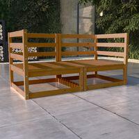 vidaXL Garden 2-Seater Sofa Honey Brown Solid Pinewood